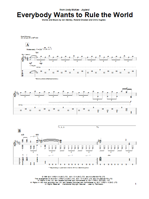 Tablature guitare Everybody Wants To Rule The World de Andy McKee - Tablature Guitare