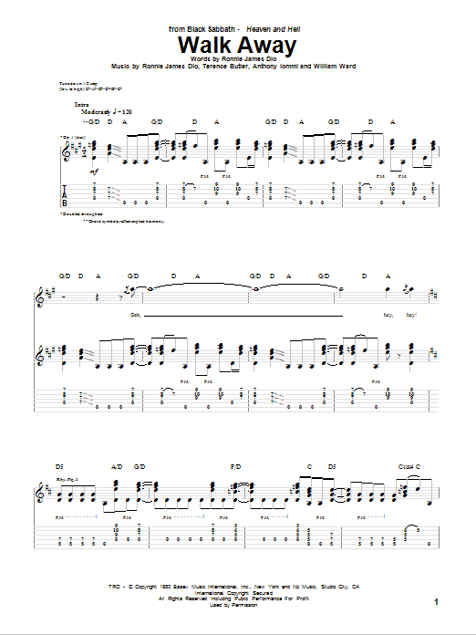 Walk Away sheet music for guitar solo (tablature) by William Ward