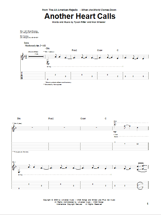 Another Heart Calls sheet music for guitar solo (tablature) by Tyson Ritter