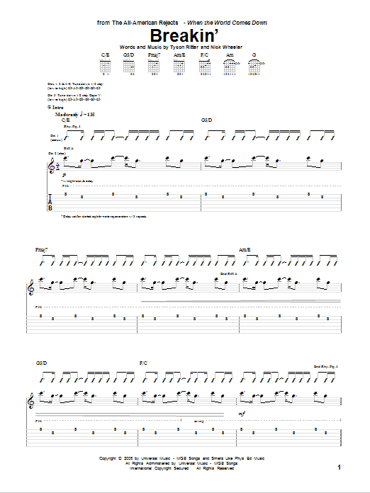 Breakin' sheet music for guitar solo (tablature) by Tyson Ritter