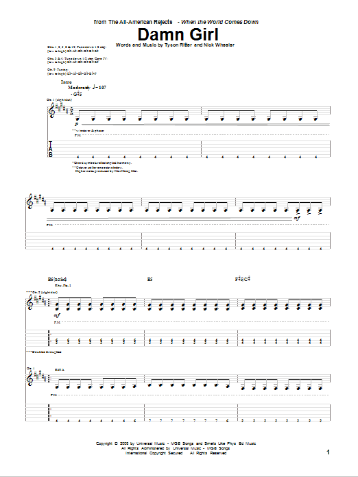 Damn Girl sheet music for guitar solo (tablature) by Tyson Ritter