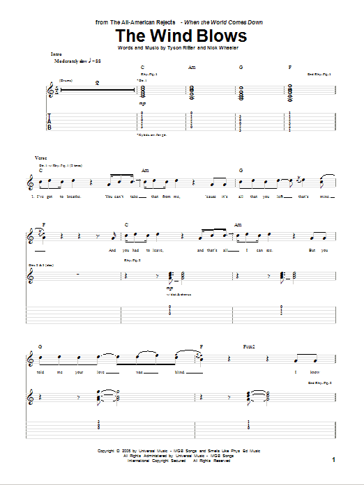 Tablature guitare The Wind Blows de The All-American Rejects - Tablature Guitare