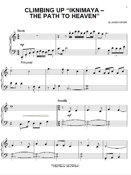 "Partition piano Climbing Up ""Iknimaya - The Path To Heaven"" de James Horner - Piano Facile"