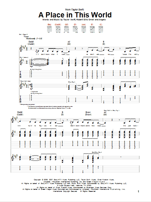 Tablature guitare A Place In This World de Taylor Swift - Tablature Guitare