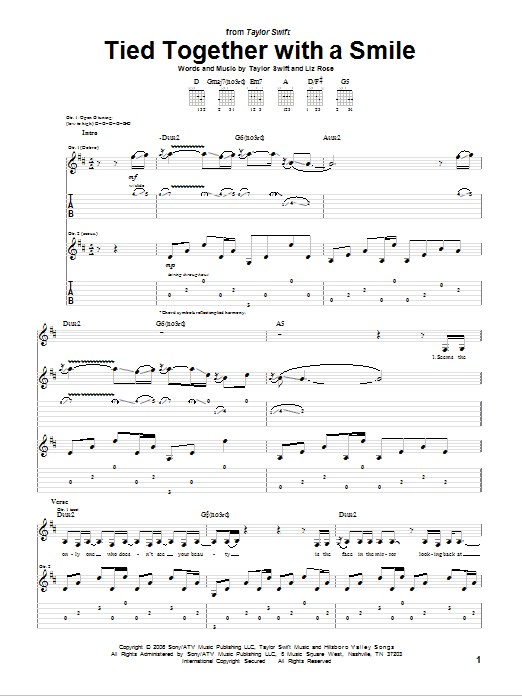 Tablature guitare Tied Together With A Smile de Taylor Swift - Tablature Guitare