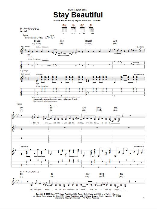 Tablature guitare Stay Beautiful de Taylor Swift - Tablature Guitare