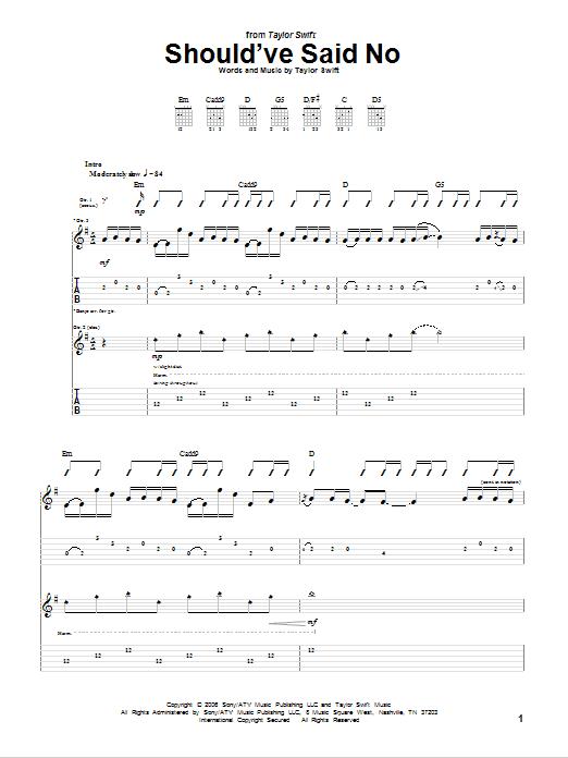 Tablature guitare Should've Said No de Taylor Swift - Tablature Guitare