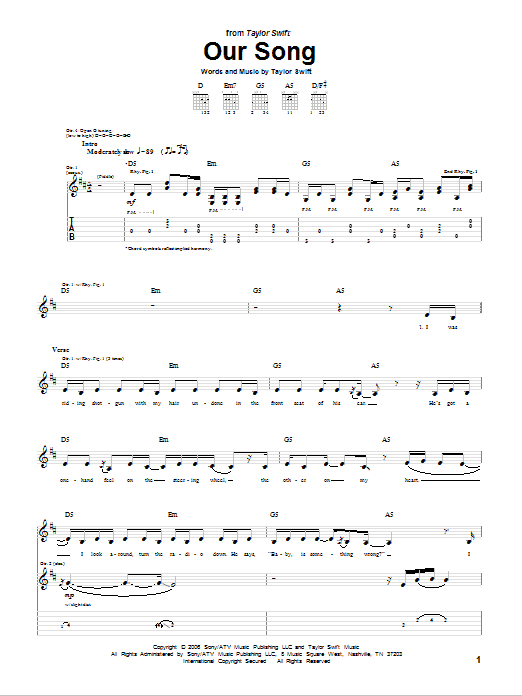 Tablature guitare Our Song de Taylor Swift - Tablature Guitare