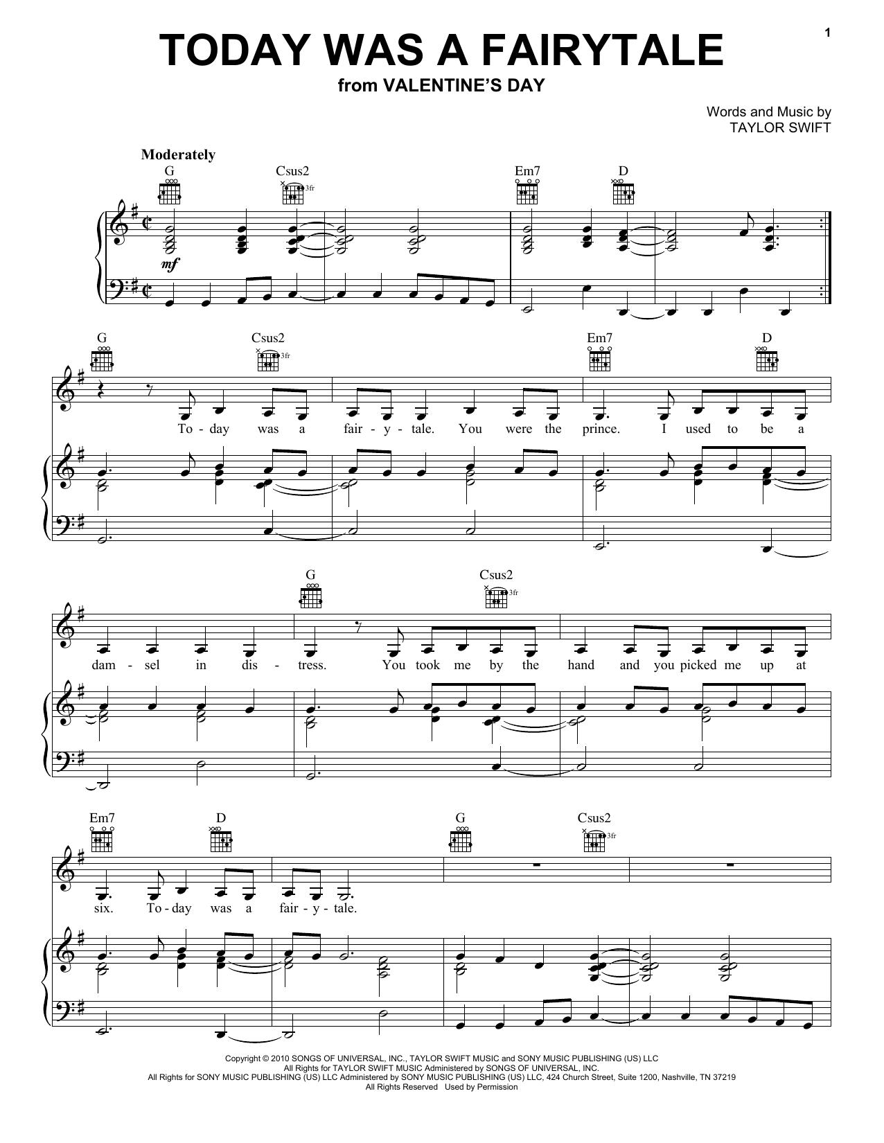Partition piano Today Was A Fairytale de Taylor Swift - Piano Voix Guitare (Mélodie Main Droite)