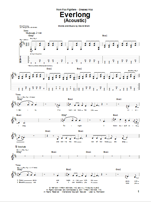 Tablature guitare Everlong de Foo Fighters - Tablature Guitare