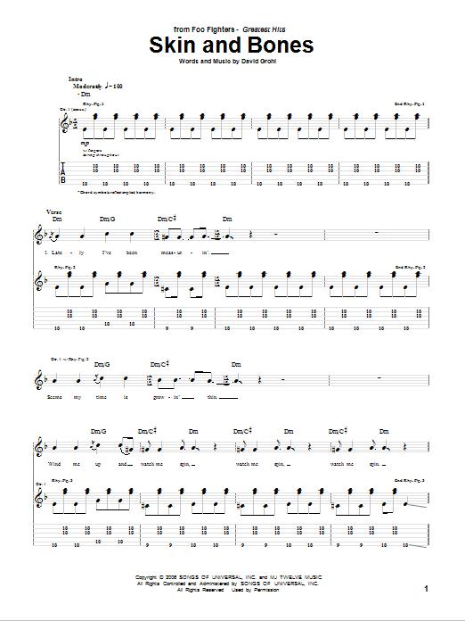 Tablature guitare Skin And Bones de Foo Fighters - Tablature Guitare