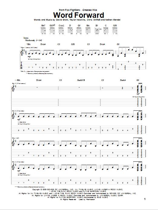 Tablature guitare Word Forward de Foo Fighters - Tablature Guitare