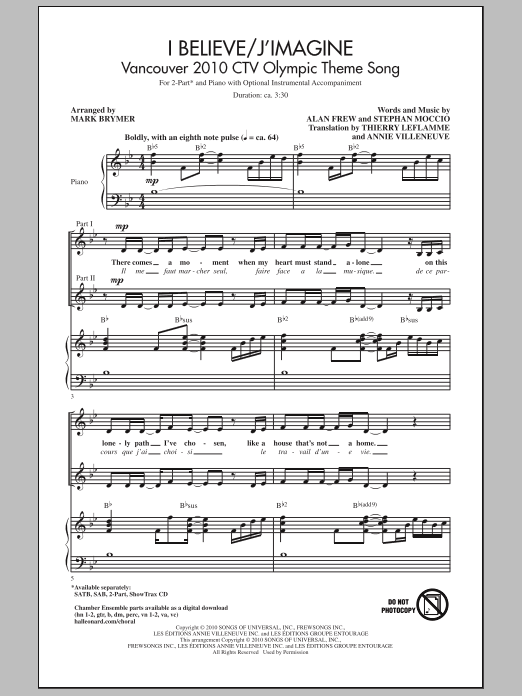 I Believe / J'Imagine sheet music for choir and piano (duets) by Alan Frew
