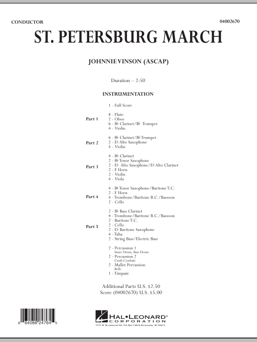 St. Petersburg March (COMPLETE) sheet music for concert band by Johnnie Vinson