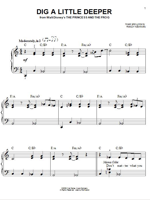 Partition piano Dig A Little Deeper de Jenifer Lewis - Piano Facile