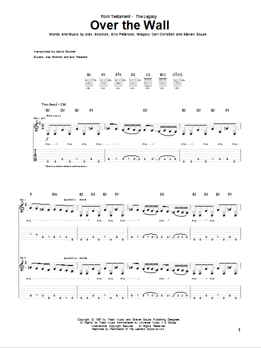 Tablature guitare Over The Wall de Testament - Tablature Guitare