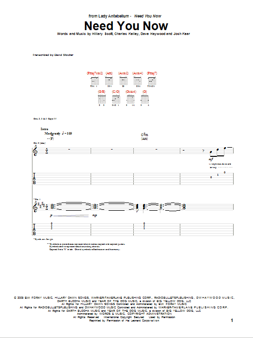 Need You Now sheet music for guitar solo (tablature) by Josh Kear