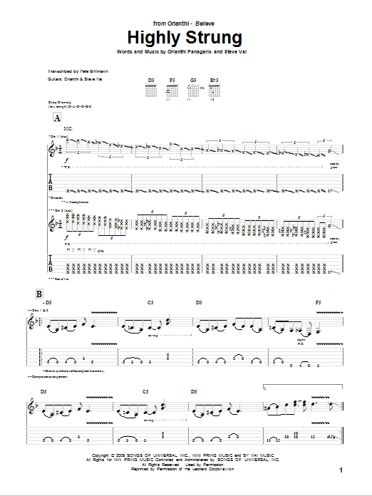 Highly Strung sheet music for guitar solo (tablature) by Orianthi Panagaris