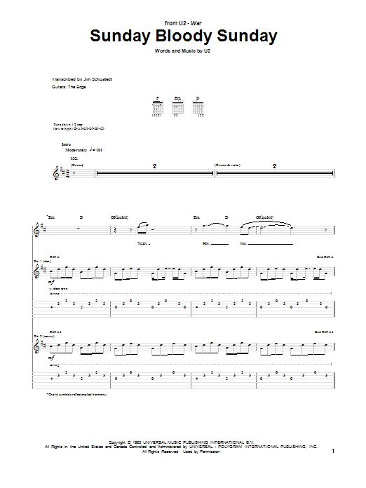 Tablature guitare Sunday Bloody Sunday de U2 - Tablature Guitare