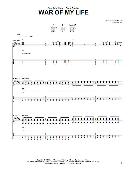 Tablature guitare War Of My Life de John Mayer - Tablature Guitare
