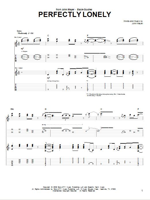 Tablature guitare Perfectly Lonely de John Mayer - Tablature Guitare