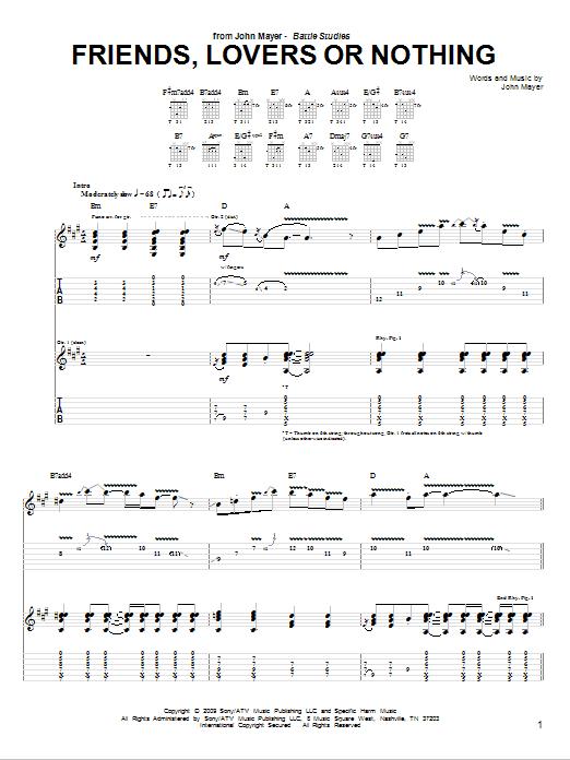 Tablature guitare Friends, Lovers Or Nothing de John Mayer - Tablature Guitare