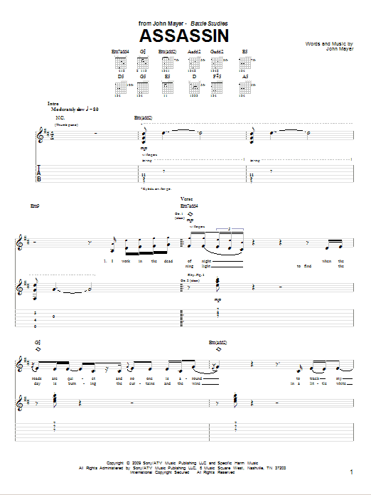 Tablature guitare Assassin de John Mayer - Tablature Guitare