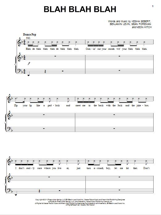 Blah Blah Blah sheet music for voice, piano or guitar by Sean Foreman