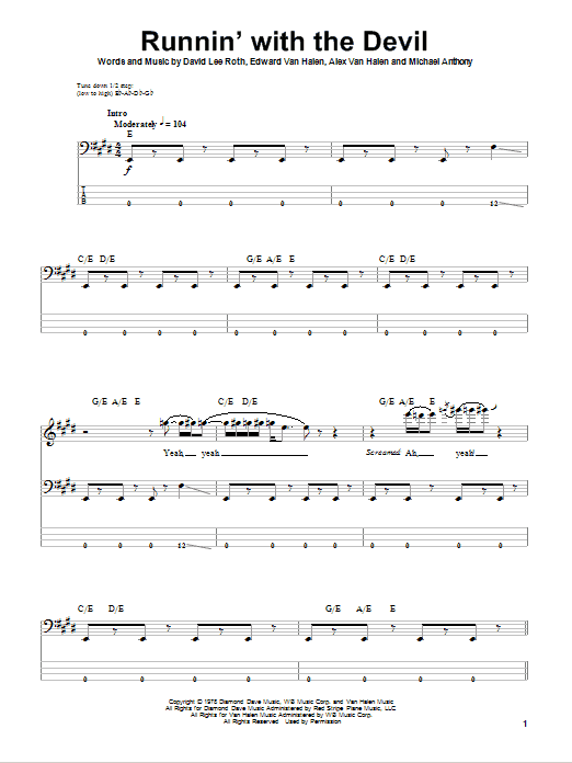 Runnin' With The Devil sheet music for bass (tablature) (bass guitar) by Michael Anthony
