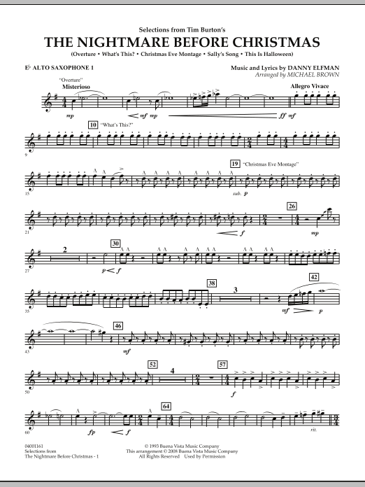 selections from the nightmare before christmas eb alto saxophone 1 - The Nightmare Before Christmas Lyrics