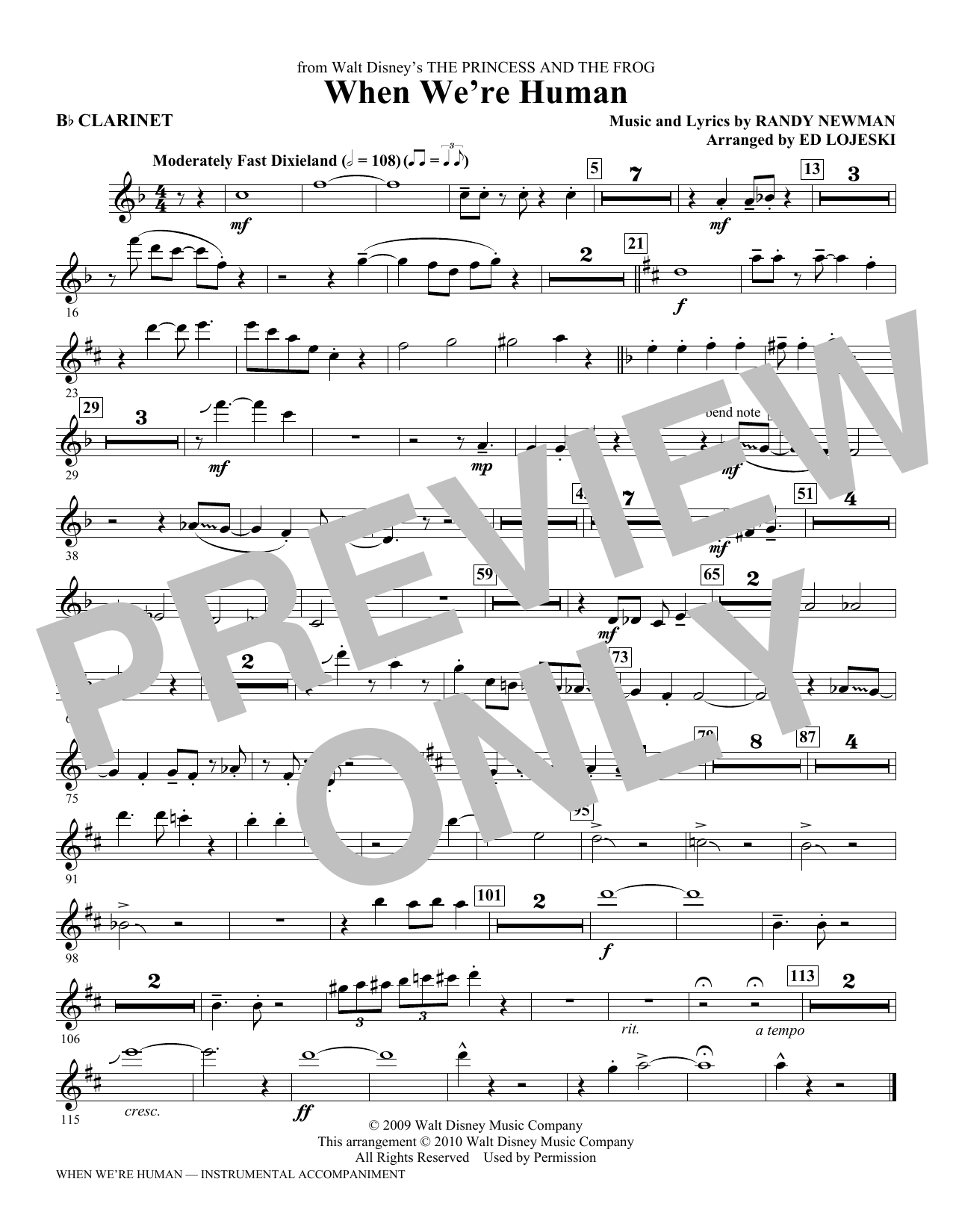 When We're Human (from The Princess And The Frog) (complete set of parts) sheet music for orchestra/band (chamber ensemble) by Ed Lojeski