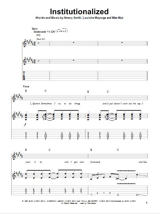 Tablature guitare Institutionalized de Suicidal Tendencies - Tablature Guitare