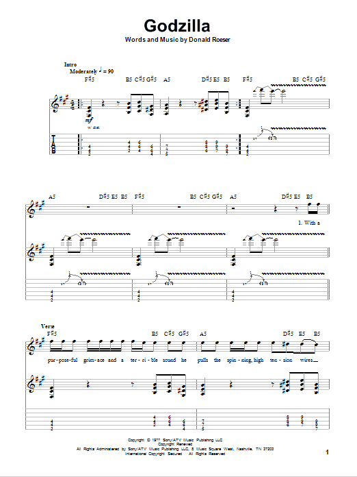 Tablature guitare Godzilla de Blue Oyster Cult - Tablature Guitare