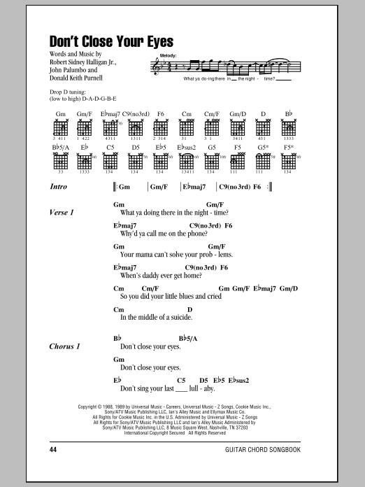 Don't Close Your Eyes sheet music for guitar solo (chords, lyrics, melody) by Robert Sidney Halligan Jr.