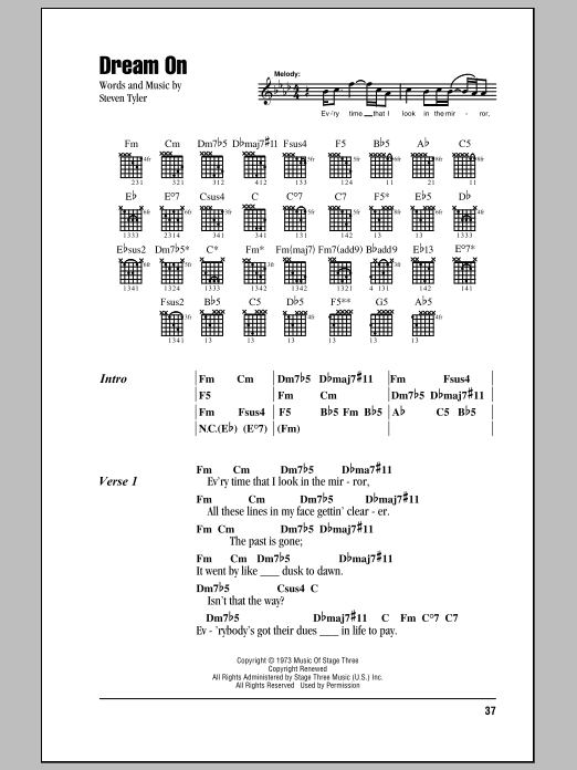 Dream On sheet music for guitar solo (chords, lyrics, melody) by Steven Tyler