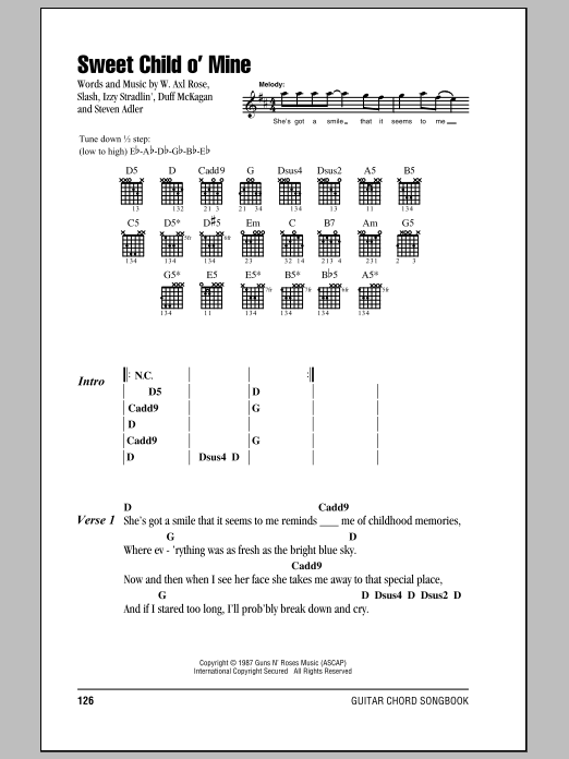 Sweet Child Ou0026#39; Mine by Guns Nu0026#39; Roses - Guitar Chords/Lyrics - Guitar Instructor