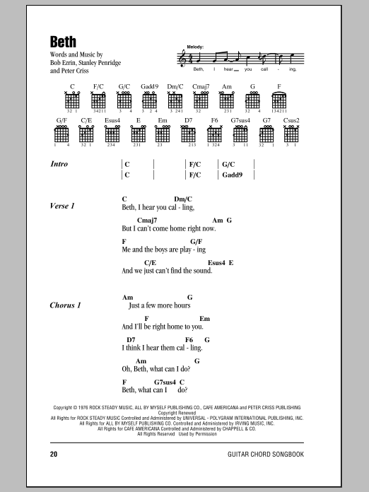 Beth sheet music for guitar solo (chords, lyrics, melody) by Stan Penridge