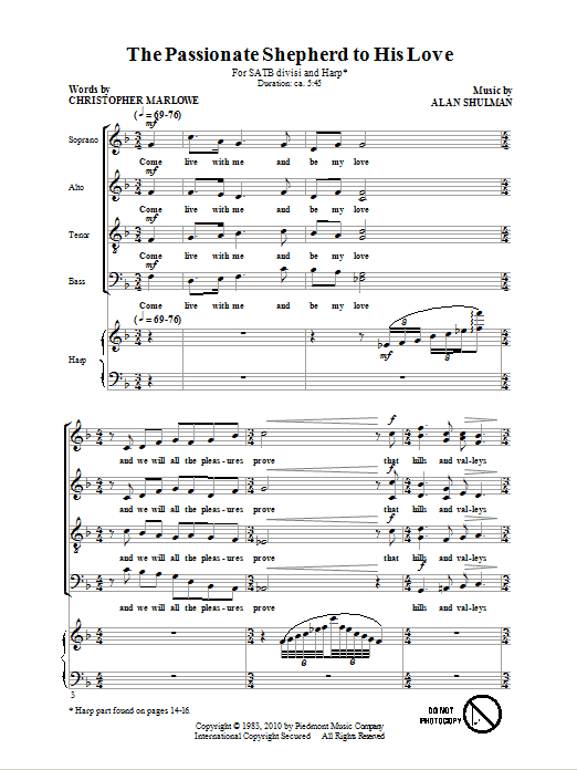 Partition chorale The Passionate Shepherd To His Love de Christopher Marlowe - SATB