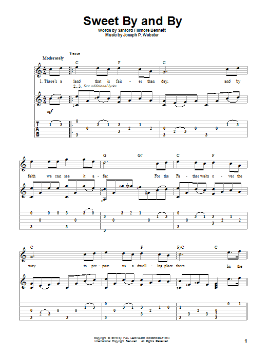 Tablature guitare Sweet By And By de Sanford Fillmore Bennett - Tablature Guitare