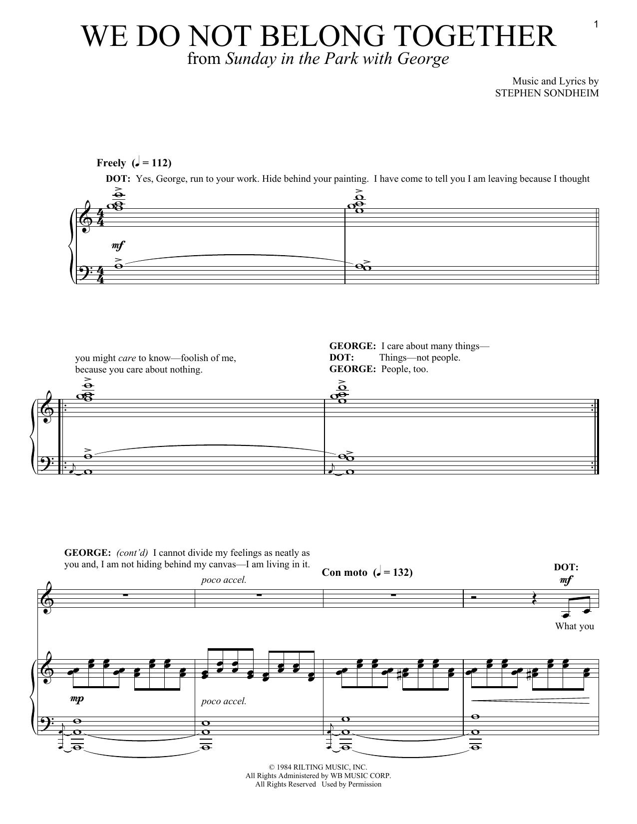 Partition piano We Do Not Belong Together de Stephen Sondheim - Piano Voix