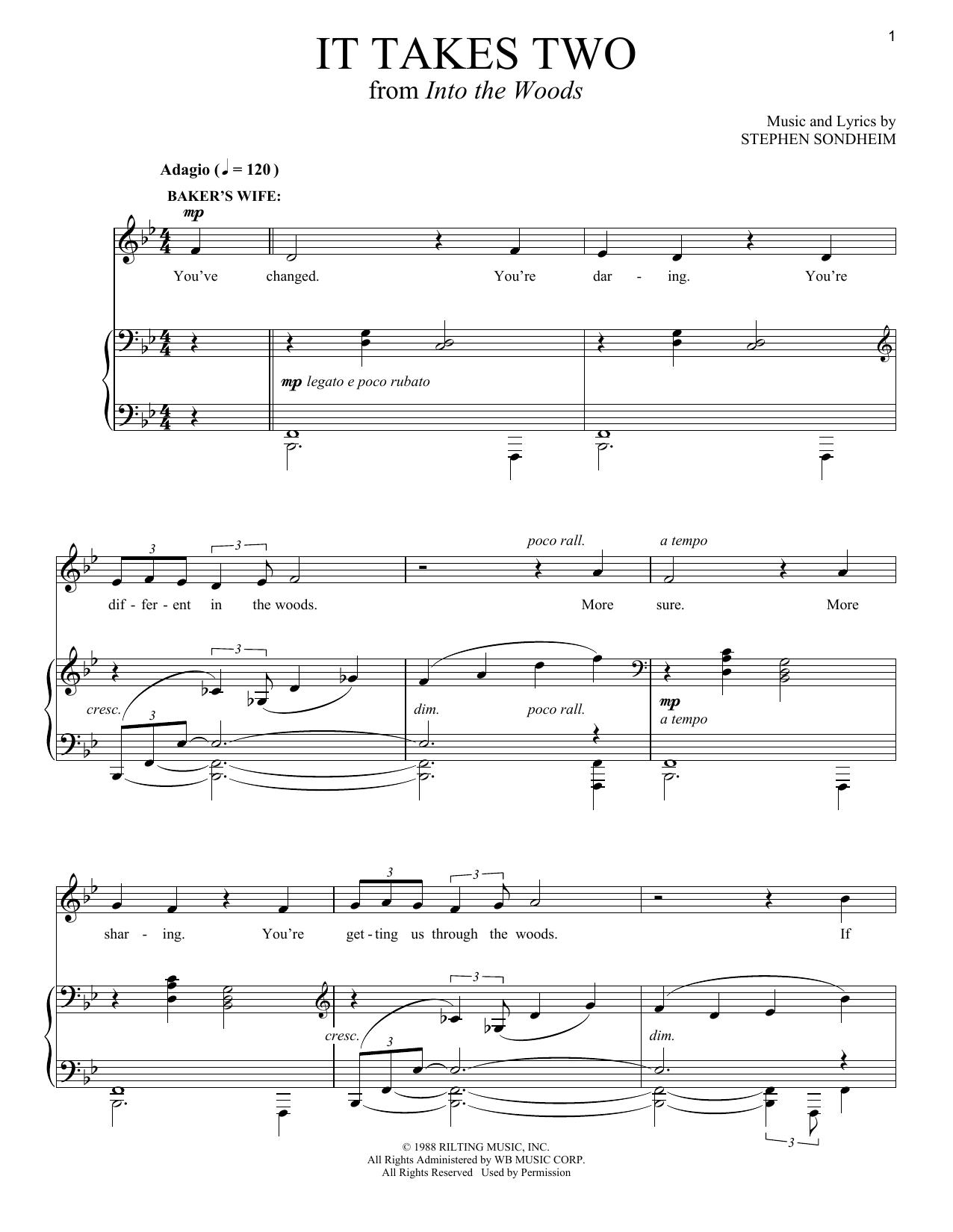 Partition piano It Takes Two de Stephen Sondheim - Piano Voix Guitare (Mélodie Main Droite)