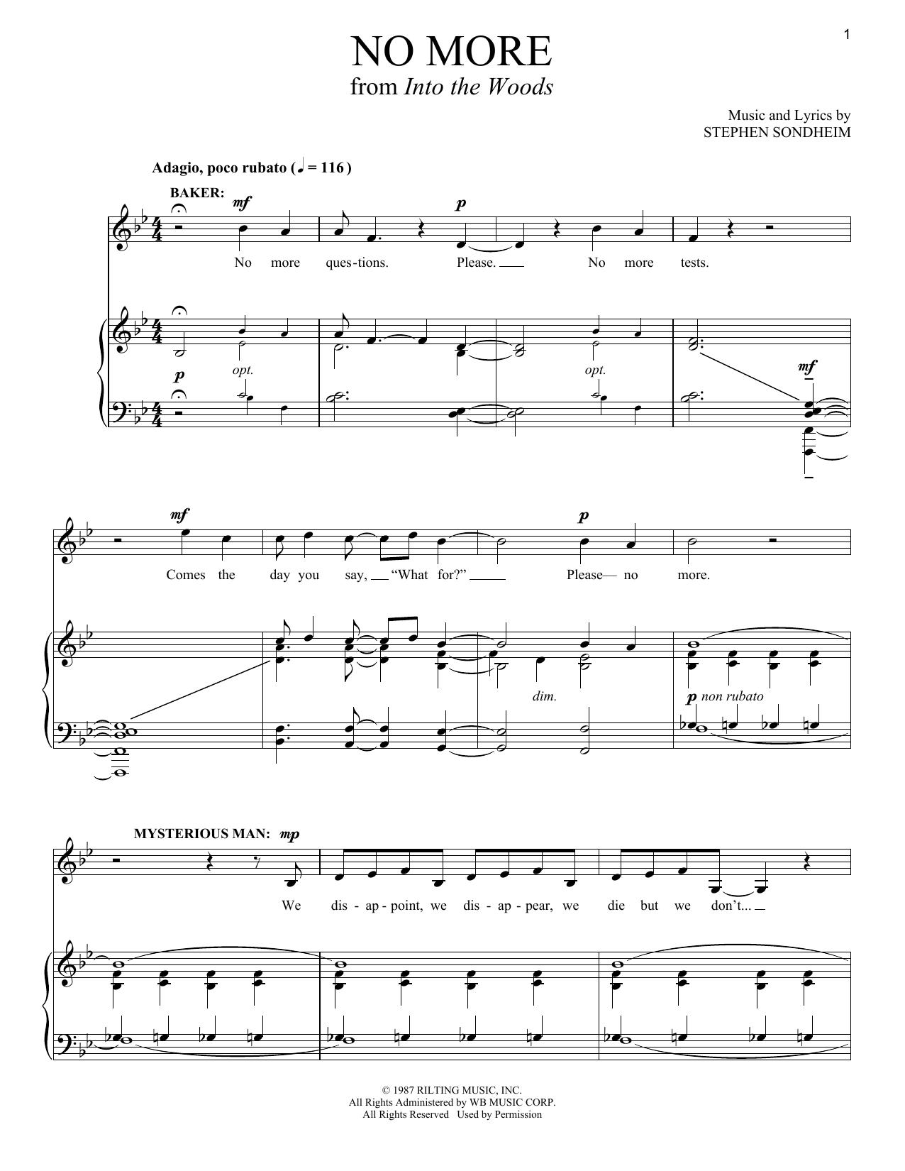 Partition piano No More de Stephen Sondheim - Piano Voix