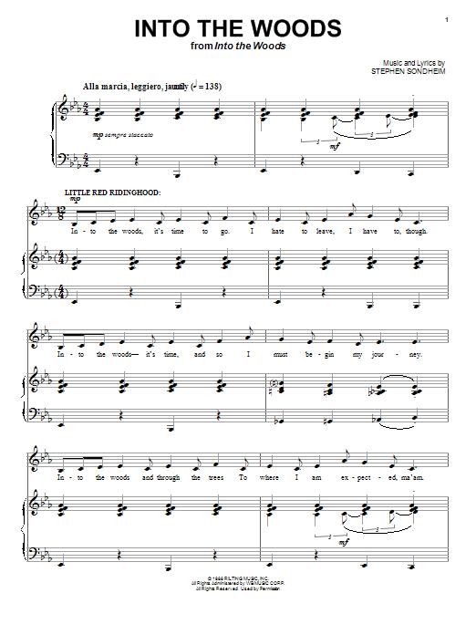 Partition piano Into The Woods de Stephen Sondheim - Piano Voix
