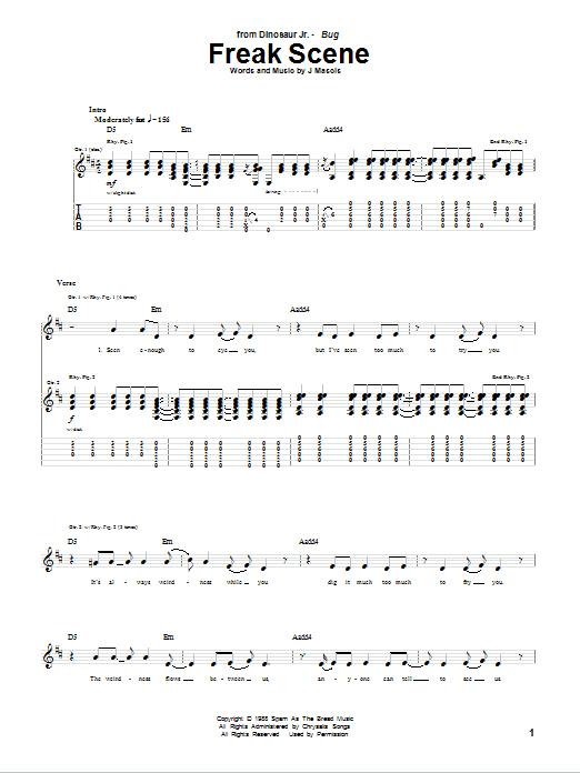 Tablature guitare Freak Scene de Dinosaur Jr. - Tablature Guitare