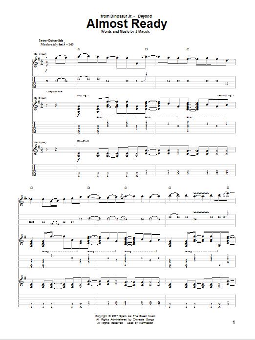 Tablature guitare Almost Ready de Dinosaur Jr. - Tablature Guitare
