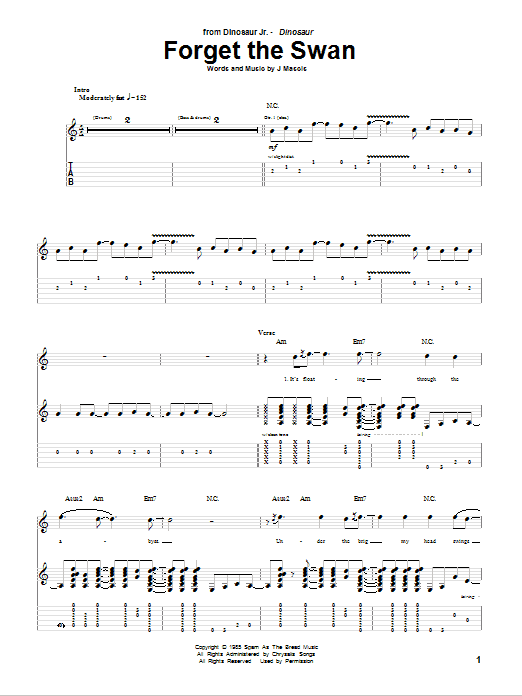 Tablature guitare Forget The Swan de Dinosaur Jr. - Tablature Guitare