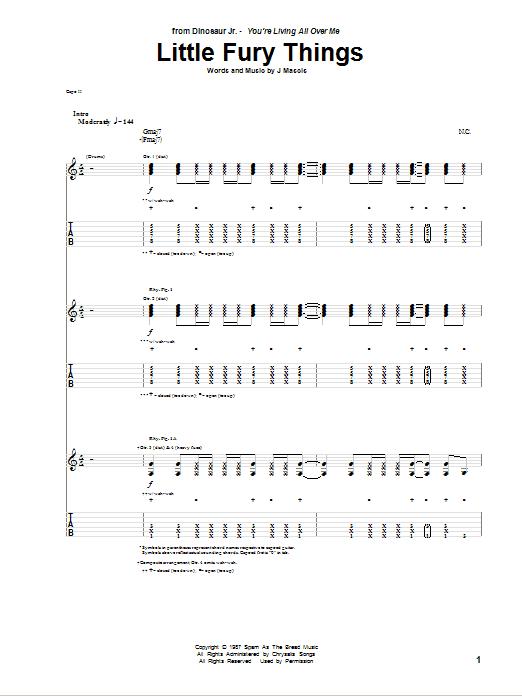 Tablature guitare Little Fury Things de Dinosaur Jr. - Tablature Guitare
