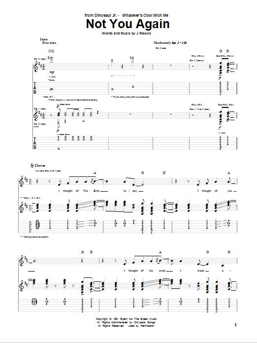 Tablature guitare Not You Again de Dinosaur Jr. - Tablature Guitare