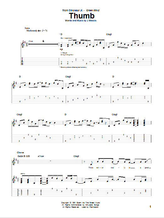 Tablature guitare Thumb de Dinosaur Jr. - Tablature Guitare