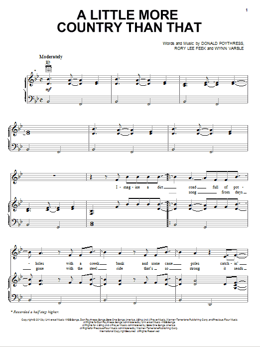 A Little More Country Than That sheet music for voice, piano or guitar by Wynn Varble